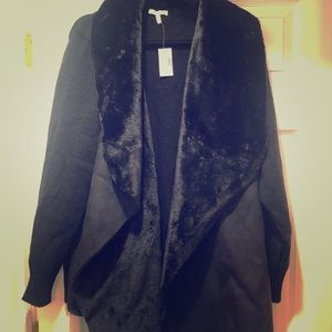 Size 2 Maurices Sweater- Suede, fur. NWT